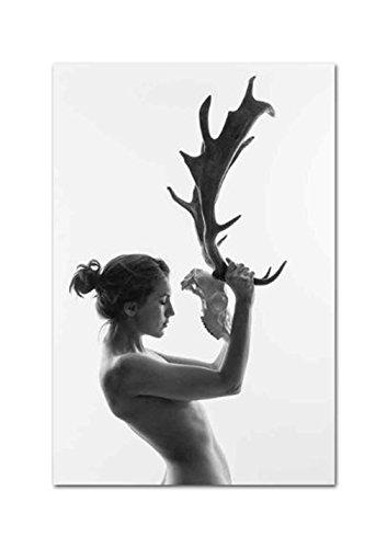XIAOXINYUAN Cuadro Mujer Desnuda En Blanco Y Negro Mujer Cornamentas Lienzo Abstracto Arte Póster De Impresión De Imagen De Pared De Salón Decoracion 60X90Cm Sin Marco
