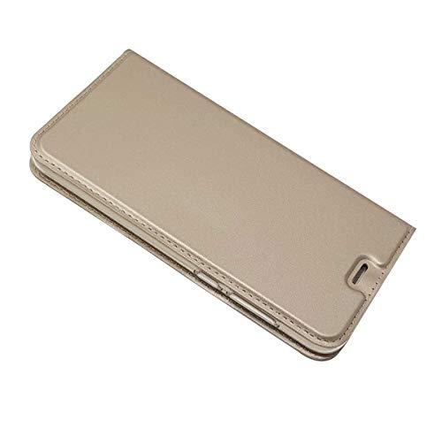 DENDICO Funda Huawei P8 Lite 2017, Slim Case de Estilo Billetera Carcasa con TPU Silicona Case para Huawei P8 Lite 2017 - Oro