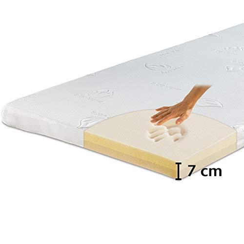 maxVitalis Viskoelastischer Matratzen-Topper, Orthopädische MemoryFoam Matratzenauflage, Viscoauflage, Wendefunktion mit 2 Härtegraden, inkl. Aloe Vera Bezug (80 x 200 cm, Viskoschaum - 7 cm)