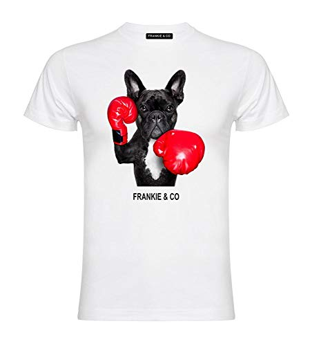 FRANKIE & CO Camiseta de Hombre Blanca Bulldog Francés Boxeador - 100% algodón...