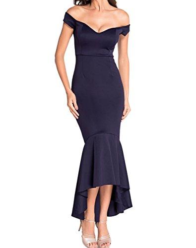 LETSDO Off Schulter Nixe Jersey Abendkleid (XL Größe Kann Nur die Größentabelle Folgen, Marine) (Abendkleid Kleid Formalen)