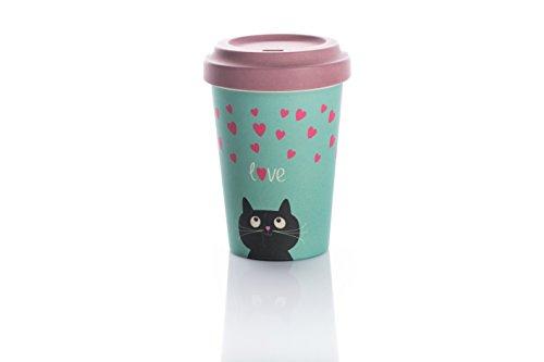 """Tazza da caffe' da asporto, Bamboo cup """"Kitty Love"""""""
