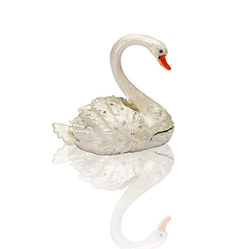 prbll Ornamente Schwan Figuren Trinket Box Jeweled Emaillierte Kleine Tier Figur Sammler Ring Schmuck Halter (Hochzeit Schwan) -