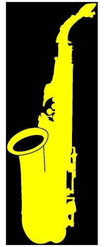 Samunshi® Saxophon Aufkleber Sticker in 8 Größen und 25 Farben (7,4x20cm gelb)