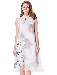 e21a6ef9f Gapsonic Vestido de Fiesta Largo Chino con Estampado Floral de Gasa para  Mujer