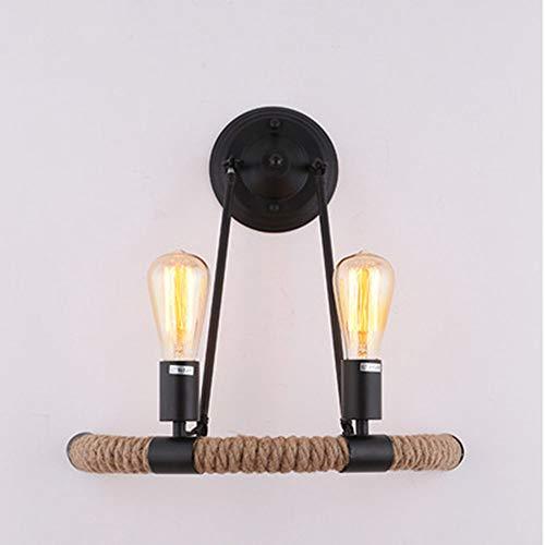 QTIAN Halbrunde Hanfseil-Wandleuchte nordische Retro-Mode Moderne minimalistische Lampe Wohnzimmer Schlafzimmer Flur Cafe Dekoration Lampe