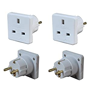 Invero® 2x Pack of UK to Europe EU Euro Tourist Travel Plug Power Mains Adaptor - White