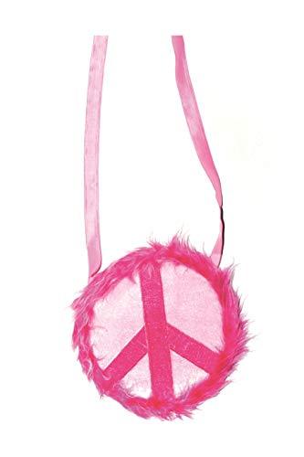Tasche Peace mit Plüsch Pink Hippie Handtasche für Damen Karneval Fasching