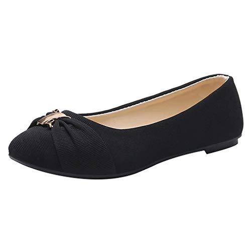 Inawayls Damen Casual Geschlossene Ballerinas Leicht Slip-on Fahren Flache Schuhe Halbschuhe Slippers (Slipper Kragen)