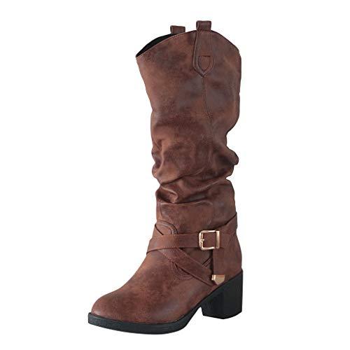 ➤Refill➤ Damen Suede Halbschaft Cowboystiefel mit Blockabsatz Biker Boots Stiefeletten Westernreitstiefel Cowgirl Western Punk Boots Spitz Zehen Hohe Stiefel