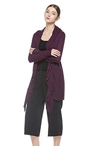 Knitbest Women's Long Sleeve Open Front Frill Cardigan (Medium, Purple)