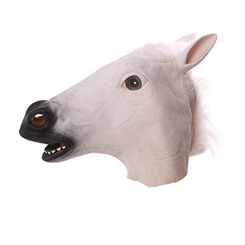 LIYANJIN Pferdemaske Halloween Maske Latex Tiermaske Pferdekopf Pferd Kostüm(braun schwarz weiß),White (Pferd Themen Kostüm)