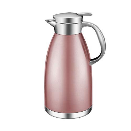 LRXG Vakuumkrug-Isolierungs-Topf, rostfreier Stahl 1.8L Kaffee-thermischer Karaffen-doppelter Wand-Saft-Milch-Tee-Topf (Farbe : Pink) - Kaffee-tee-thermische Karaffe
