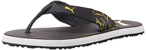 Puma Men's WingletIIDP Dark Shadow and Dandelion Leather Hawaii Thong Sandals - 8 UK