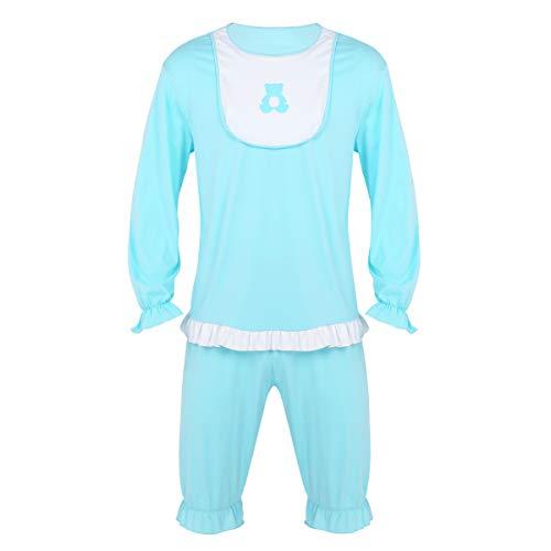 iEFiEL Männer Sissy Dessous Schlafanzug Pyjamas Langarm Tops T-Shirt und kurz Hose Shorts Herren Baby Kostüm Latz Cosplay Kostüm Hell Blau X-Large