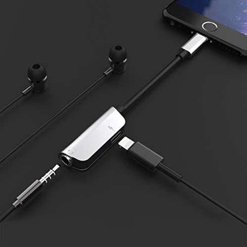 Kopfhöreranschluss für iPhone XR-Adapter Kopfhörer Audio-Splitter und Ladeanschluss für iPhone X / XS max / 7/7 Plus / 8 / 8Plus Unterstützung für Musikhören und Ladehilfe iOS 11.4 System -Sliver - 7
