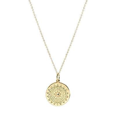 Collier chaîne cible - médaille Ethnique en Plaqué Or - Pendentif médaille