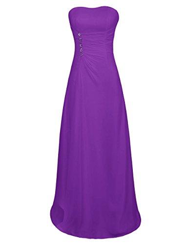 Dresstells Jugendlich Damen Abendkleid Chiffon Homecoming Kleider Sommerkleider Brautjungfer Kleider Purpur