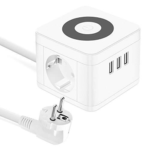 Oferta de UOOGOU USB Regletas Enchufes, Cube Tomas con 3 USB Puertos y 2 Tomas, Alargador Ladron Enchufes Multiple con Lámpara de Noche Táctil para el Dormitorio, la Oficina, Blanco