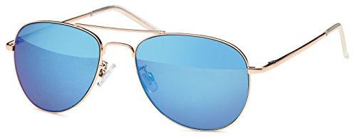 blau verspiegelte Sonnenbrille Pilotenbrille für schmale Köpfe und Gesichter mit Federbügeln + Brillenbeutel Fliegerbrille (blau)