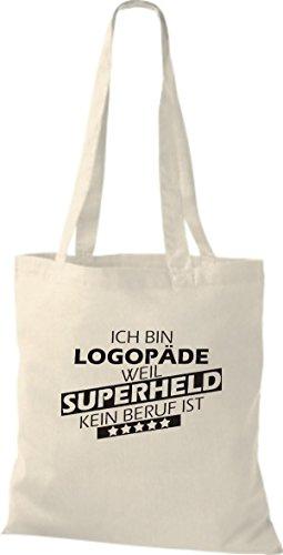 Shirtstown Stoffbeutel Ich bin Logopäde, weil Superheld kein Beruf ist natur