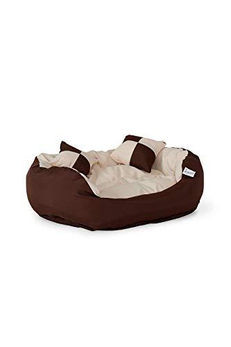 dibea DB00110 Hundebett - Hundekissen, Hundesofa abwischbar mit Wendekissen, 65 x 50 x 20 cm, braun/beige