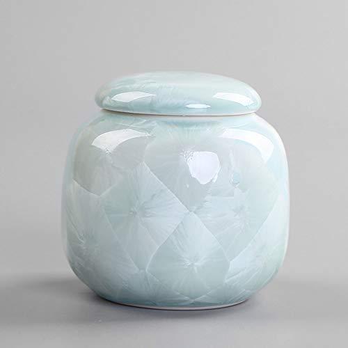 QYZLT Keramik Haustier Sarg Hund/Katze, menschlichen Körper Dichtung feuchtigkeitsbeständige handgemachte Beerdigung Haustier Sarg Bestattung liefert Ornamente,Blue -