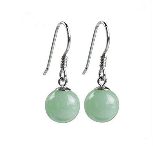 28mm Perle (gyx Ohrringe Jade Natürliche Jadeit-Perlen Mit 925 Silber-Ohrringen Perlen 8mm Gesamtlänge 28mm)