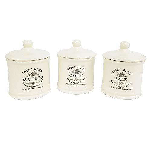 Set 3 Pezzi Sweet Home Barattoli Shabby Chic Barattoli Cucina Ceramica Contenitore Sale Zucchero caffè