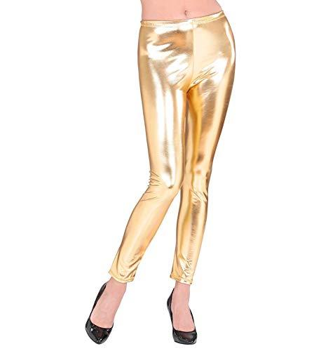 shoperama Metallic Damen Leggings glänzend Hose Disco Silvester Festival Show Revue Space-Girl Kostüm-Zubehör, Farbe:Gold, Größe:S/M (Festival Girl Kostüm)
