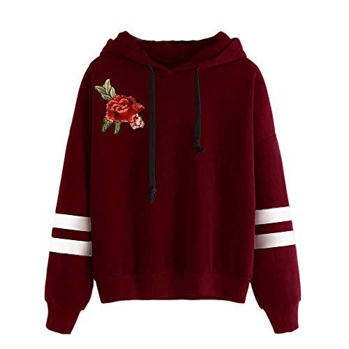 VECDY Damen Pullover,Räumungsverkauf- Herbst Damen Stickerei Applique Langarm Hoodie Sweatshirt Pullover mit Kapuze Pullover Modern Pulli Sweatshirt Tuniken T-Shirt Pullover Hoodis(Wein,44)
