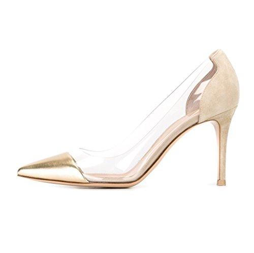 Kolnoo 80mm Damen Transparent Pumps Stiletto Schuhe Gold Größe EU45