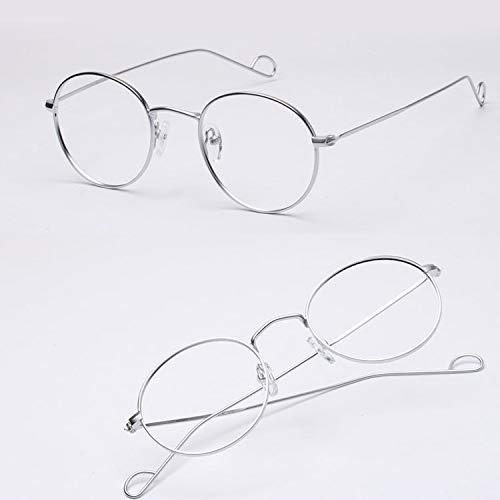 YMTP Hochwertiges Metall Superfeine Brille Frames Unisex Vintage Brillengestell Für Weibliche Mode Ovale Gläser Ultra-Leicht, Silber
