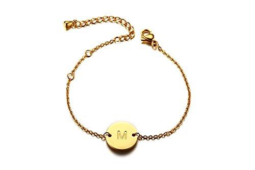 Vnox Damen Edelstahl personalisierte benutzerdefinierte Name einstellbare Link Armband mit Initial M Round Tag Gold Initial Halskette 14k Gold
