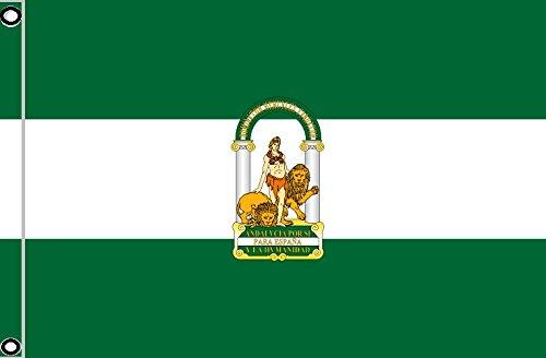 DURABOL Bandera de Andalucía andaluz flag 90x150cm SATIN 2 anillas metálicas fijadas en el dobladillo