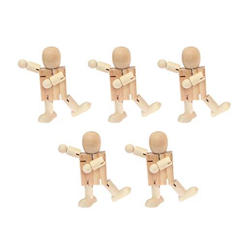 Healifty Holzpuppe Menschen Unvollendet Holz Roboter Block Spielzeug Actionfiguren Modell Spielzeug für Kunsthandwerk Geburtstag 5 Stücke