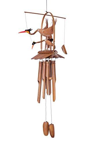 Ciffre Ca. 100cm Riesen Vogel Windspiel Klangspiel Mutter mit Kind Garten Wetterfest Bambus