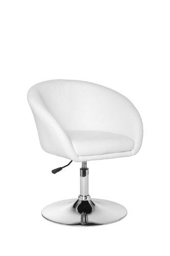 AMSTYLE Design Fauteuil tournant Lift imitation cuir et à hauteur réglable Blanc Charge de 120 kg max