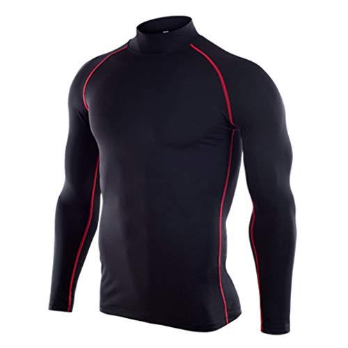 DNOQN Sportliche Poloshirts Herren Fitness Langarm T-Shirt Bodybuilding Haut Enge Trocknende Tops Bluse rot XL