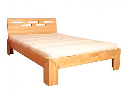 Bett 140x200 cm Massivholz Holzbett Birke natur geölt, wahlweise mit Kopfteil, Kopfteilauswahl:Ohne Kopfteil