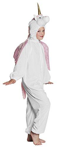 erdbeerclown- Mädchen Unicorn Karneval Kostüm Einhorn, Onesie-Jumpsuit, 134-140, 9-10 Jahre, Weiß