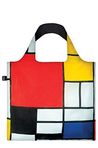 LOQI Museum Piet Mondrian Composition Red Yellow Blue And Black Bag Borsa da spiaggia, 50 cm, 20 liters, Multicolore (Multicolour)