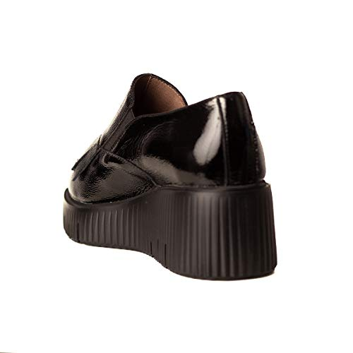 WONDERS Zapato CUÑA Media Flecos Mujer Negro 36