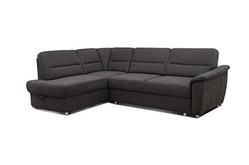 Cavadore Ecksofa Makau / Federkern-Couch mit Ottomane / Polster-Ecke mit Bettfunktion und Bettkasten / 252 x 88 x 181 cm (BxHxT) / Mikrofaser in Lederoptik dunkelgrau