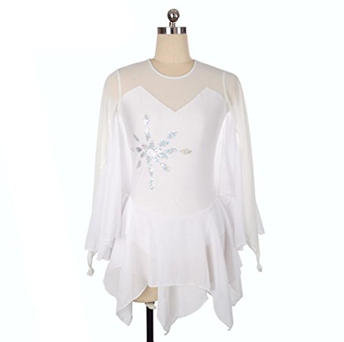 Kostüm Kleid Eislaufen - Eiskunstlauf Kleid für Mädchen, Handarbeit Rollschuhkleid Wettbewerb Kostüm für Frauen Schmetterling langärmelige Eislaufen Kleid Weiß