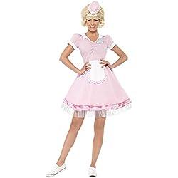 Smiffy's - Disfraz de Hippie años 50´ para Mujeres con Vestido, Sombrero y Mini, Color Rosa (43183M)