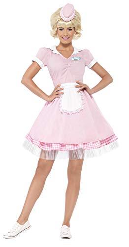 Smiffys, Damen 50er Diner Serviererin Kostüm, Kleid und Mini-Hut, Größe: XS, 43183 (Material Girl Rosa Kleid Kostüm)