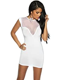 Minikleid Damen weiß Oberteil Kleid Dress kurz