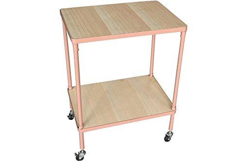 Rolltisch rosa mit 2 Holz Böden 65x50x35cm Metallgestell eck (Rosa Rollwagen)