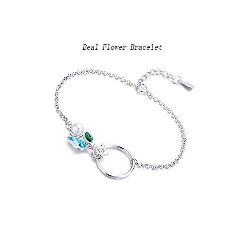 Armband 925 Sterling Silver Armband Fashion Temperament Circle Perlen Blumenschmuck
